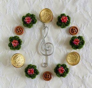 ト音記号と花クリスマス